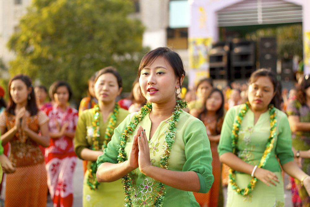 Burmese Ladies in a Festival