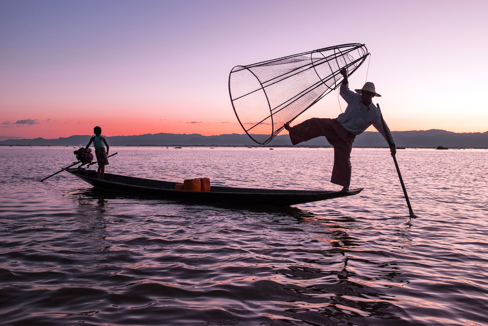 Go fishing by legs in Inle Lake