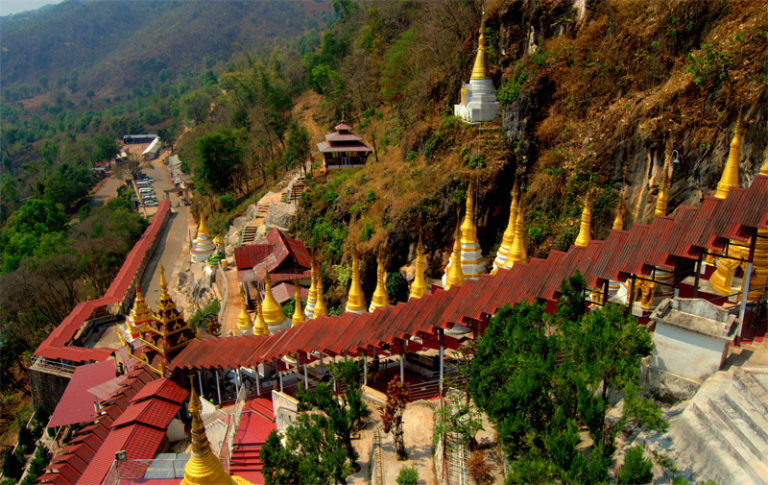 The way to Pindaya Cave in Myanmar
