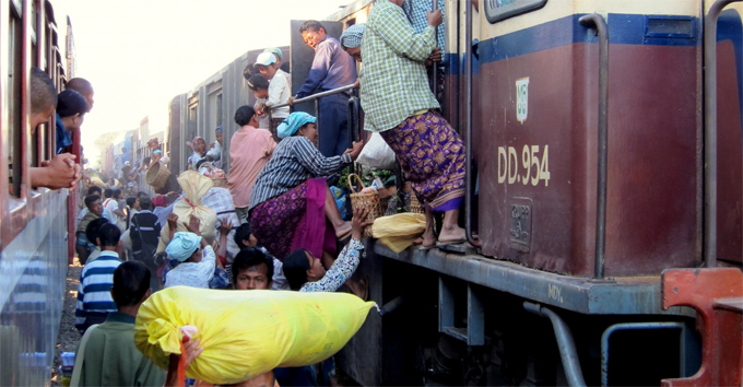 The train from Mandalay to Myitkyin, Burma