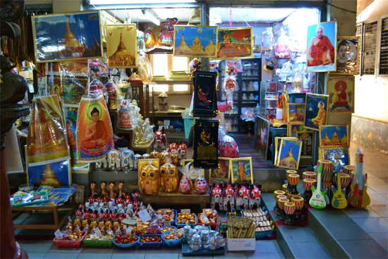 A souvenir shop at Shwedagon Pagoda