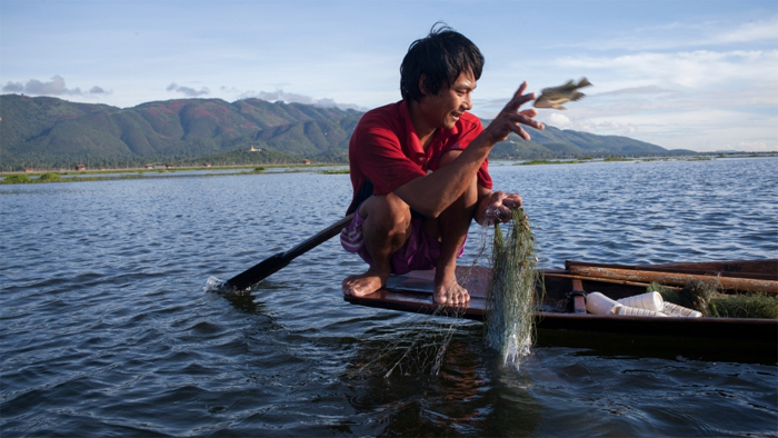 A fisherman in Inle Lake Myanmar