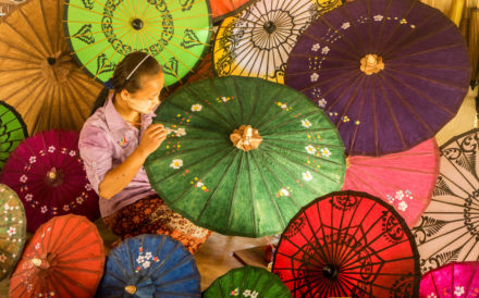 The Beautiful Paper Umbrella in the Villages in Inle Lake
