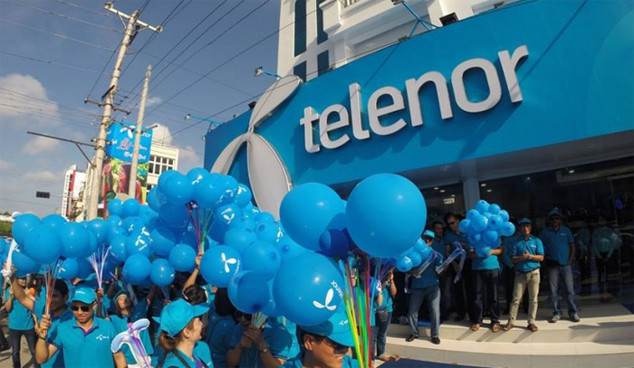 The openning of a Telenor shop in Myanmar