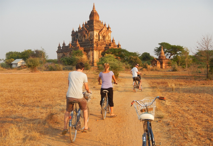 Morning ride around the temples of Bagan