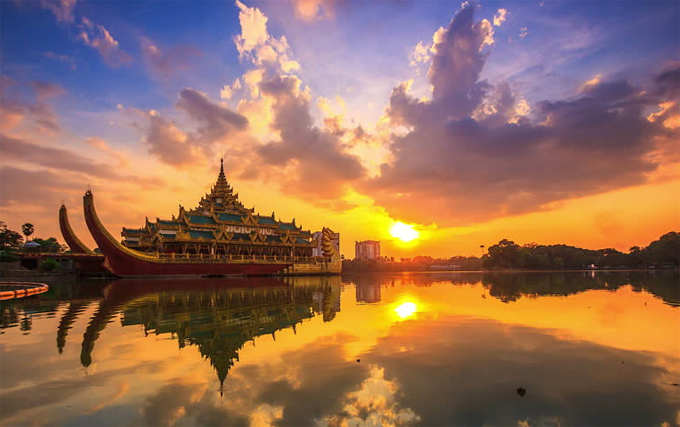 Sunset at Kandawgyi Lake in Yangon Myanmar