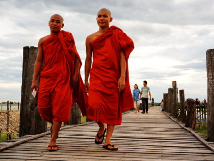 Myanmar Itinerary 10 Days: Monks walking on Ubein Wooden Bridge